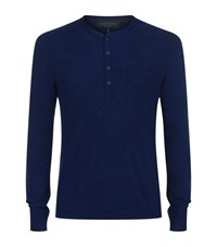 Rag And Bone Giles Merino Wool Henley Male Blue