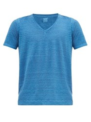 120 Lino V Neck Linen T Shirt Blue
