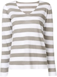 Le Tricot Perugia Striped V Neck Jumper Grey