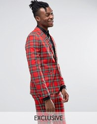 Religion Skinny Suit Jacket In Tartan With Zip Detail Red