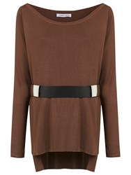 Gloria Coelho Belted Knit Blouse Brown
