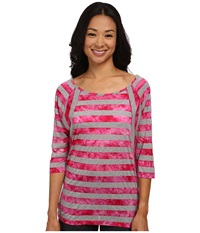 Lole Alicia Top Rhubarb Stripe Women's Long Sleeve Pullover Multi