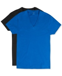 2Xist 2 X Ist Men's Cotton Stretch Short Sleeve V Neck T Shirt 2 Pack Black Skydiver Blue