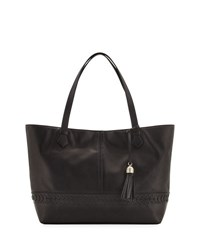 Cole Haan Lacey Herringbone Woven Trim Leather Tote Bag Black