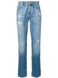 Brunello Cucinelli Distressed Straight Leg Jeans Blue