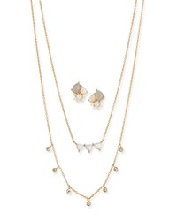 Tai Cubic Zirconia Opal Earrings And Necklace Set White