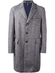 Jacob Cohen Herringbone Pattern Mid Coat Blue
