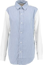 Current Elliott The Clean Prep School Paneled Cotton Shirt White