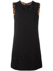 Dolce And Gabbana Rose Embroidered Shift Dress Black