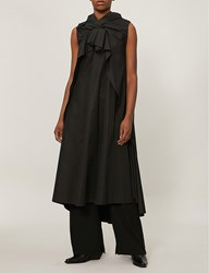 Aganovich Gathered Cotton Poplin Midi Dress Black
