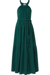 Apiece Apart Escondido Belted Crinkled Cotton Voile Maxi Dress Emerald