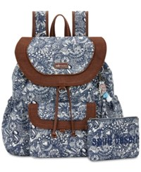 Sakroots Flap Backpack With Pouch Navy Spirit Desert Silver