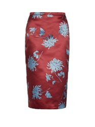 Rochas Dahlia Print Duchess Satin Pencil Skirt Burgundy Multi