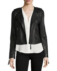 Joie Margolin Studded Leather Moto Jacket Black