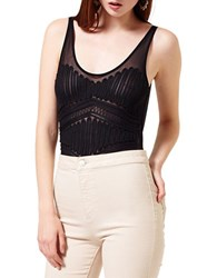 Miss Selfridge Mesh Sleeveless Bodysuit Black