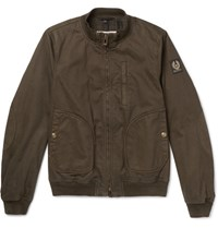 Belstaff Pendine Waxed Stretch Cotton Canvas Bomber Jacket Army Green