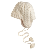 J.Crew Cable Knit Trapper Hat Antique White