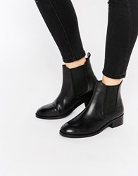 Asos Attribute Leather Chelsea Ankle Boots Black