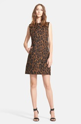 Lanvin Leopard Print Taffeta Shift Dress Camel