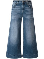 7 For All Mankind Wide Legged Cropped Jeans Blue