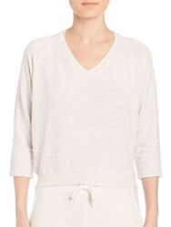 Monrow Heathered V Neck Sweater Ash