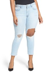 Good American Plus Size Women's Cuts Ripped Boyfriend Jeans Blue 011