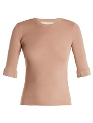 Red Valentino Lace Insert Cashmere And Silk Blend Sweater Nude
