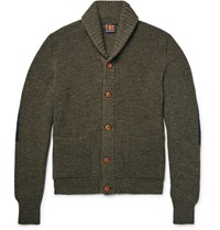 The Workers Club Worker Hawl Collar Melange Merino Wool Cardigan Army Green