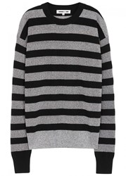 Mcq By Alexander Mcqueen Metallic Striped Wool Blend Jumper Black And Silver