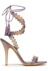 Etro Tasseled Elaphe Sandals Lilac