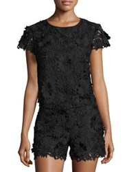 Milly 3D Floral Lace Cropped Top Black