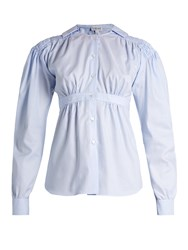 Loewe Sailor Collar Smocked Oxford Cotton Blouse Light Blue