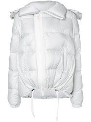 Sacai Padded Coat Feather Down Nylon Polyester Lamb Fur White