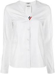 Thom Browne V Neck Cardigan White