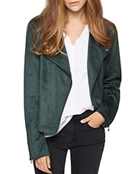 Sanctuary Faux Suede Moto Jacket Meadow Green