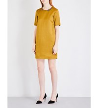 Max Mara S Shaker Embellished Neckline Satin Dress Gold