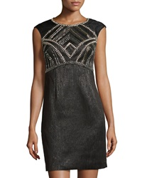 Phoebe Couture Cap Sleeve Beaded Jacquard Cocktail Dress Black