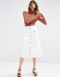 Asos Cord Button Through Midi Skirt In Winter White White