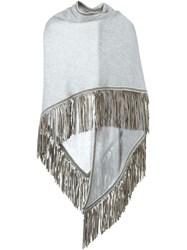 Antonia Zander Fringed Shawl Grey