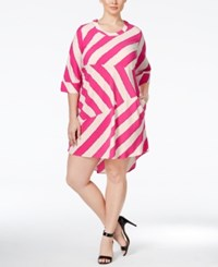 Melissa Mccarthy Seven7 Plus Size Striped High Low Dress Bright Purple