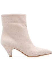 Valentino Garavani Micro Studded Ankle Boots Nude And Neutrals