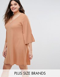Pink Clove Fluted Sleeve Shift Dress Pink