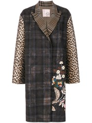 Antonio Marras Floral Embroidery Checked Coat Cotton Acrylic Polyamide Other Fibers Brown