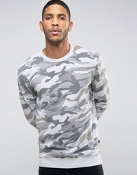 Only And Sons Sweatshirt In Camo Griffin Camo Grey