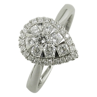 Ewa 18Ct White Gold 0.66Ct Pear Shaped Diamond Cluster Engagement Ring M