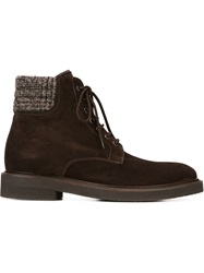 Eleventy Lace Up Boots Brown