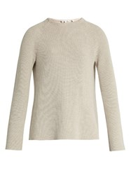 Helmut Lang Buckle Back Crew Neck Sweater Beige