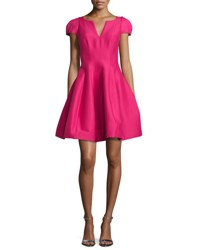 Halston Tulip Skirt Split Neck Party Dress Cerise
