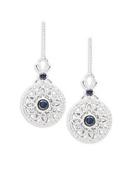 Effy Diamond Sapphire And 14K White Gold Drop Earrings