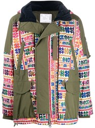 Sacai Embroidered Parka Coat Green